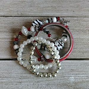 Lot of 7 red/blk/white fashion bracelets